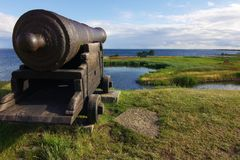 Old cannon in the Kalmar castle Stock Photography