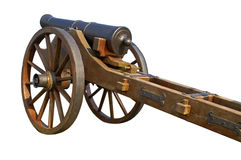 Old cannon and limber. Old artillery cannon on wooden limber, isolated on white background stock photography