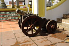 Old cannon at Masjid Kampung Hulu in Malacca, Malaysia Stock Photo