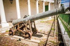 Old cannon in the middle of Jamaica stock photos
