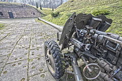 Old cannon, military equipment. Royalty Free Stock Images