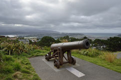 Old cannon on mount Victoria, NZ. Stock Image