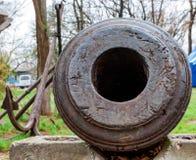 Old cannon muzzle on embankment of Sevastopol. Close up muzzle of old cannon exposed on embankment in Sevastopol, Russian military port city Stock Photo