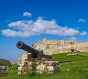 Old cannon near a medieval castle Royalty Free Stock Photos