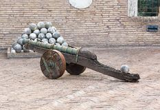 Old cannon and the nucleus Royalty Free Stock Photo
