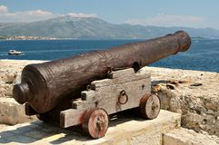 Old cannon at old fortress in medieval town Korcula, Croatia Stock Photography