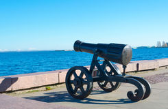 Old cannon in Petrozavodsk Karelia, Russia. Ancient cannon created at the Alexander factory. Located on the waterfront of Lake Onega in Petrozavodsk. It weaved Stock Photography