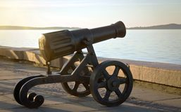 The old cannon on the promenade. Russia. Petrozavodsk-July 2014.The old cannon on the promenade Royalty Free Stock Image