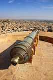 Old cannon on roof of Jaisalmer fort Royalty Free Stock Images