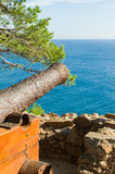 Old cannon and sea view Stock Photography