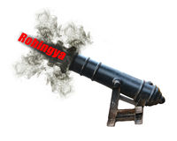 Old cannon shooting Rohingya text, Pushed out of the country con Royalty Free Stock Image
