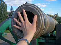 Old cannon should shoot nevermore. Artillery piece of 19th century, Ukraine royalty free stock images