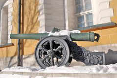 Old cannon shown in Moscow Kremlin. Royalty Free Stock Images