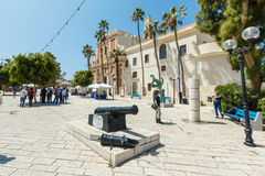 Old cannon on a square at the Saint Peter Church in Old Jaffa, I Stock Images