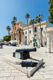 Old cannon on a square at the Saint Peter Church in Old Jaffa, I Royalty Free Stock Photos
