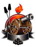 Old cannon. Of the 19th century on a background of stylized nucleus with ramrods Stock Photos