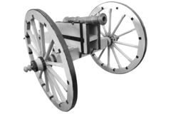 Old cannon. vintage gunpowder weapon. Isolated on white background royalty free stock photography