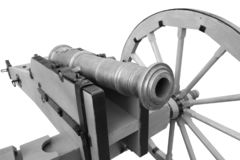 Old cannon. vintage gunpowder weapon. Isolated on white background royalty free stock photo