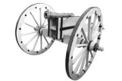 Old cannon. vintage gunpowder weapon. Isolated on white background royalty free stock photos