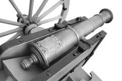Old cannon. vintage gunpowder weapon. Isolated on white background stock photo