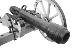 Old cannon. vintage gunpowder weapon. Isolated on white background stock images