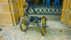 Old cannon wagon - north of the country in Poland - spring air - January 2019 stock image