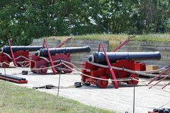 Old cannon weapons. On display at a state park in Maryland Royalty Free Stock Photo
