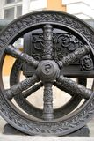 Old cannon wheel in Moscow Kremlin. UNESCO Heritage Site. Royalty Free Stock Photo