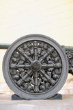 Old cannon wheel. Moscow Kremlin. UNESCO World Heritage Site. Royalty Free Stock Photo
