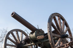 Old cannon on wheels Stock Image