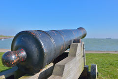 Old cannon which protected entrance to Slijk harbor Royalty Free Stock Photo