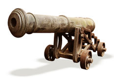 Old cannon on white background Stock Photography