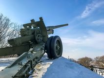Old cannon in the winter royalty free stock photos