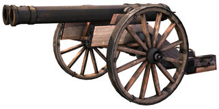 Old cannon on wooden wheels. 3D render of an old cannon on wooden wheels Royalty Free Stock Photography