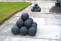 Old Cannonballs Royalty Free Stock Photography