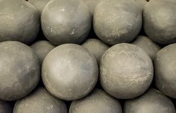 Old cannonballs, the core of ancient guns. Historical places of the fortress royalty free stock photos