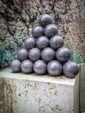 Old cannonballs in the old Copenhagen fort royalty free stock images