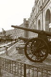 Old cannonry in black and white royalty free stock image