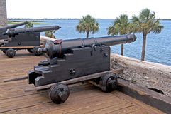 Old cannons aiming at the sea Royalty Free Stock Image