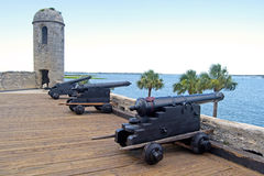 Old cannons aiming at the sea. Old canons aiming at the sea, in a fort, on an overcast day. Castillo de San Marcos, St. Augustine, Florida. 16th century royalty free stock photo