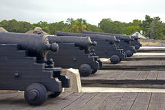 Old cannons aiming at the sea Royalty Free Stock Photography