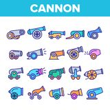 Old Cannons, Artillery Linear Icons Vector Set stock illustration