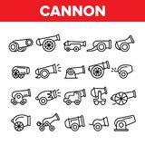 Old Cannons, Artillery Linear Icons Vector Set royalty free illustration