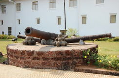 Old cannons and cannonballs Stock Photography