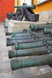 Old cannons of different sizes in Moscow Kremlin. Royalty Free Stock Image