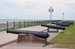 Old cannons in fortifications Stock Images