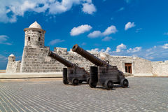 Old cannons in front of a  castle in Old Havana Stock Photography
