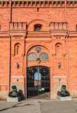 Old cannons and the gate of Museum of Artillery. Royalty Free Stock Image