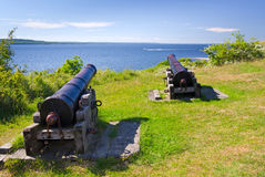 Old cannons on Hano island Royalty Free Stock Photos