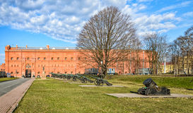 Old cannons at the inner yard of Museum of Artillery. Stock Image